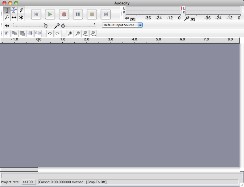 Audacity's main window